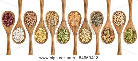 beans, lentils and pea - a collection of food ingredient on isolated wooden spoons