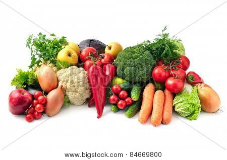 fresh fruits and vegetables isolated on white background