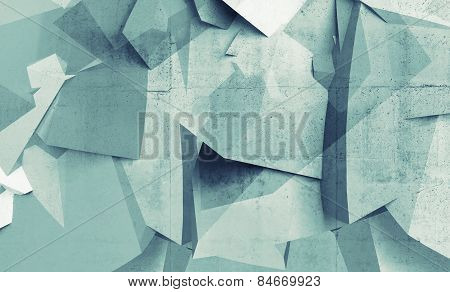Abstract Chaotic Polygonal Fragments On Concrete Wall