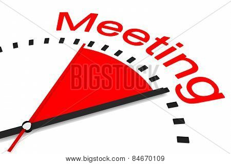 Clock With Red Seconds Hand Area Meeting Illustration