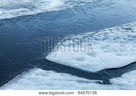 Ice Fragments And Thin Layer Of Frozen River Water