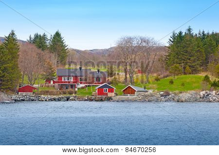 Norwegian Small Village With Colorful Wooden Houses