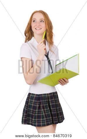 Young thiking student female isolated on white