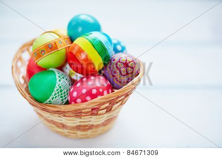 Easter decorations in small basket