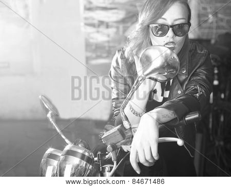 Lady With Motorcycle