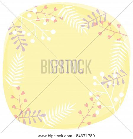 Vector Illustration With Template Word Spring. Creative Design For Wedding Invitations, Greeting Car