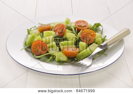 Salad With Cucumber Cubes And Tomato