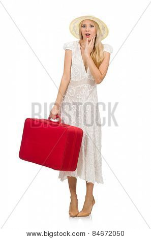 Woman with red suitcase isolated on white