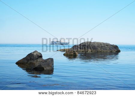 Landscape with the image of rocks in the sea