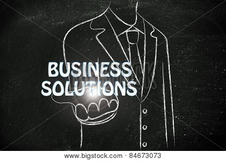 Business Manhanding Out The Word Business Solutions