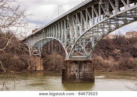 Bridge over a river in winter