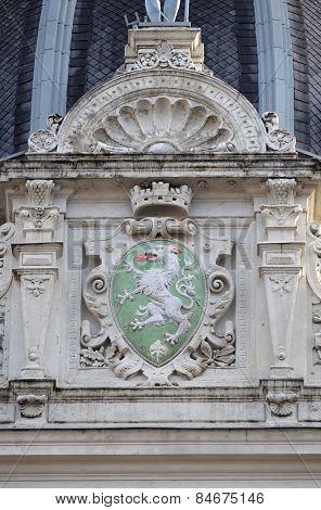 GRAZ, AUSTRIA - JANUARY 10, 2015: Graz coat of arms, facade detail Rathaus Town Hall, Graz, Styria, Austria on January 10, 2015.
