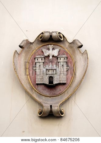 GRAZ, AUSTRIA - JANUARY 10, 2015: Facade coat of arms on the Landhaus historic center listed as World Heritage by UNESCO in Graz, Styria, Austria on January 10, 2015.
