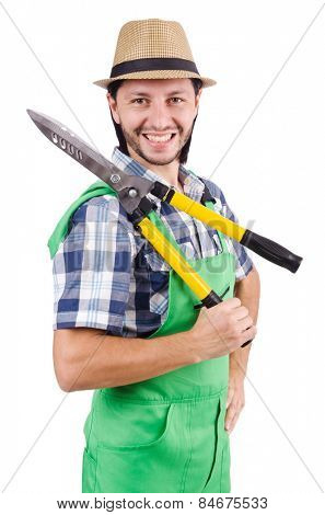 Funny gardener with shears isolated on white