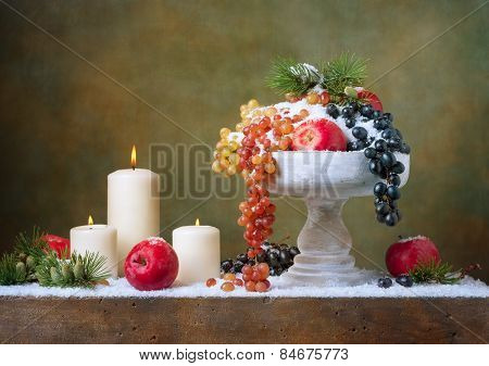 Christmas vintage still life with apples and grapes