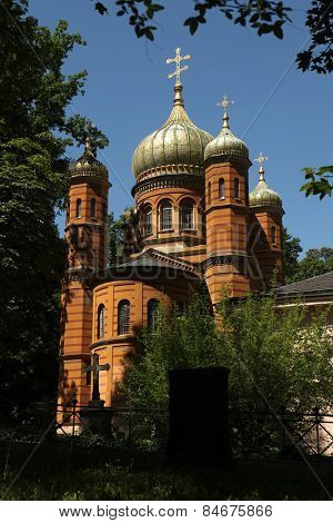 Russian Orthodox Chapel dedicated to Saint Mary Magdalene (1860) at the Historic Cemetery in Weimar, Thuringia, Germany.