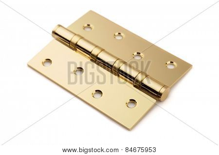 Brass door hinge isolated on white