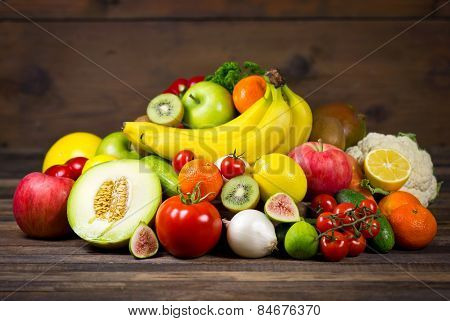 Fresh and organic vegetables and fruits