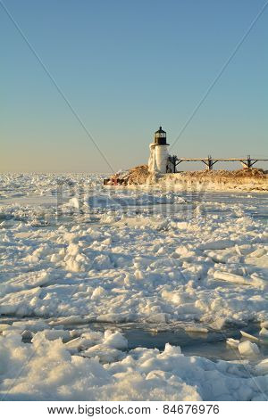 Lighthouse Surrounded by Ice