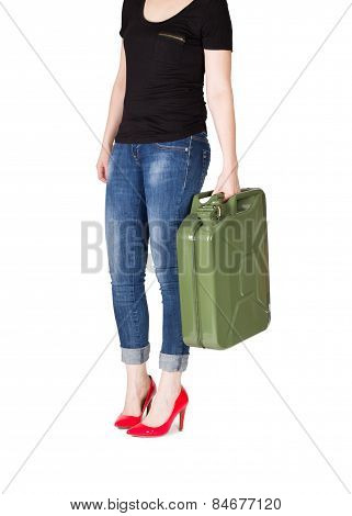 Woman with jerrycan