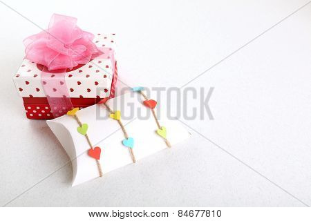 Beautiful gift box on light background. Valentine Day concept