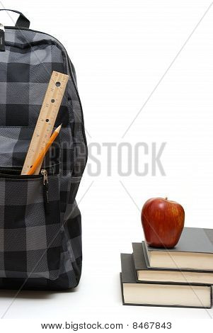 School Backpack And Books