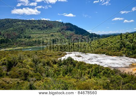 Panorama of Orakei Korako geothermal park, forest and Waikato river