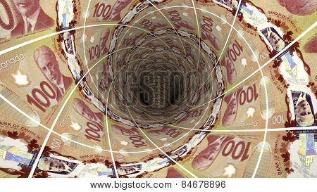 Money background from canadian dollar
