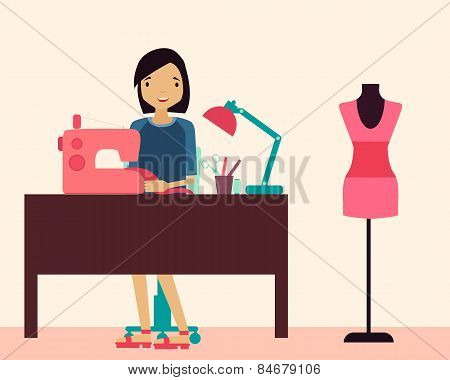 Workplace seamstress. Woman sitting at the table and sewing machine. Vector illustration