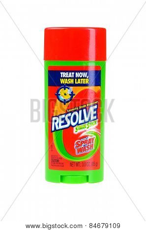 Hayward, CA - February 23, 2015: -3 oz spraystick of Resolve brand stain remover - Illustrative Editorial