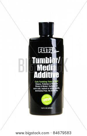 Hayward, CA - February 23, 2015: 7.6 oz Bottle of FLITZ brand tumbler/Media additive - Illustrative Editorial