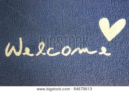Fabric Wipe Foot And Welcome Text.