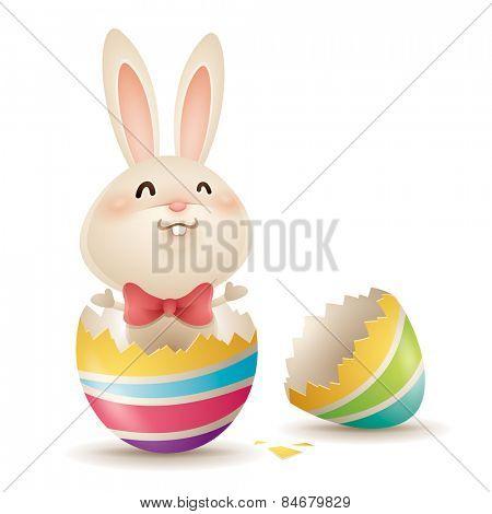 Easter bunny inside a cracked egg