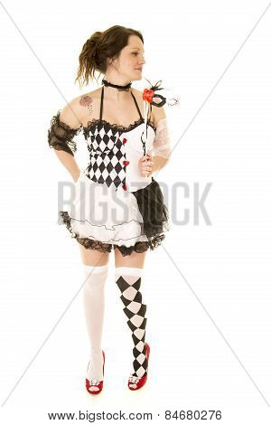 Woman In A Black And White Costume Full Body Look Side
