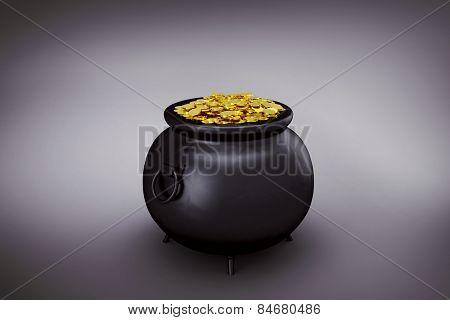 pot of gold against grey vignette