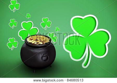 pot of gold against green shamrocks on green background