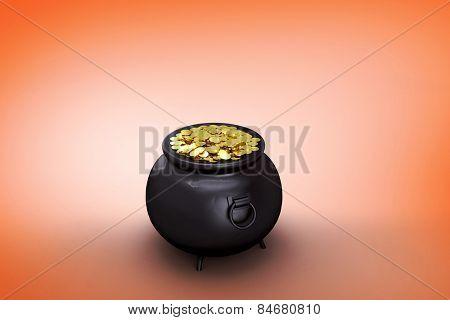 pot of gold against orange