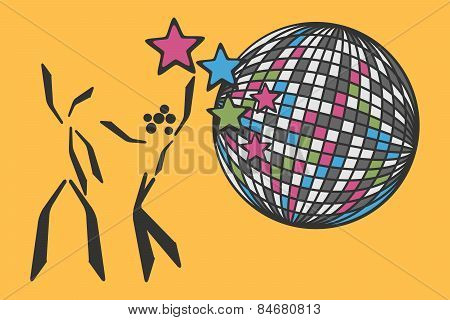 dancing couple beside disco ball