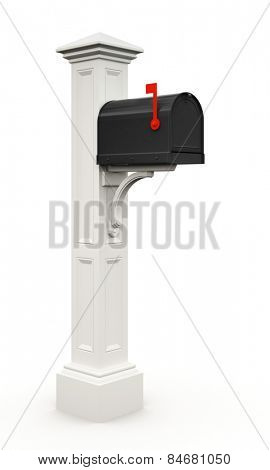 Retro black mailbox isolated on white background 3D
