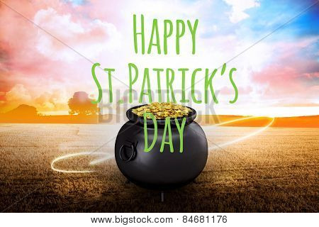 Happy st patricks day against field with light wave