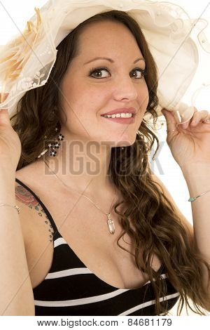 Woman With Long Hair And A Hat Close Smile