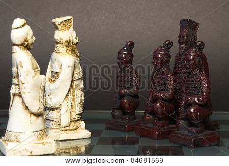 Chess pieces are on the chessboard