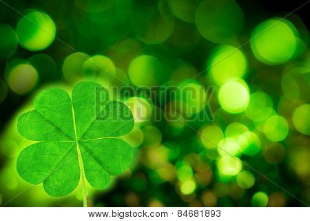four leaf clover against green glowing background