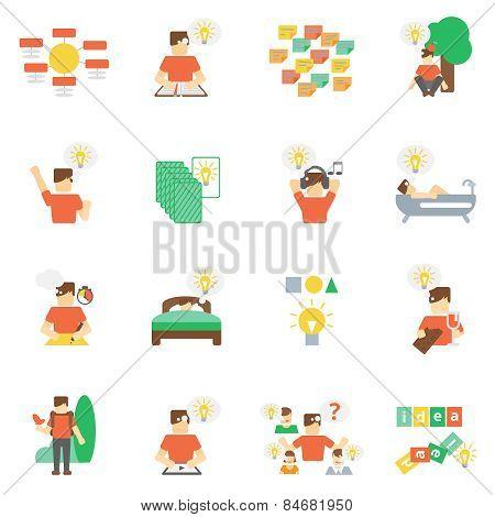 Ideas Icons Flat Set