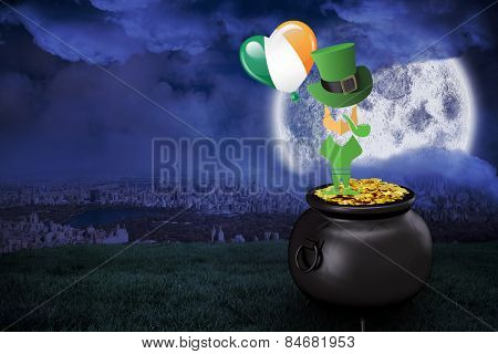 leprechaun against large moon over city