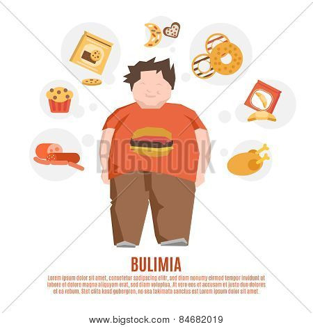 Bulimia Concept Flat