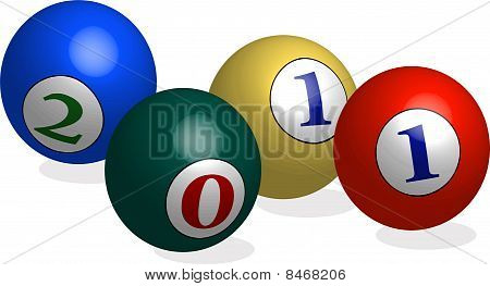 2011 coloful balls in 3d illustration