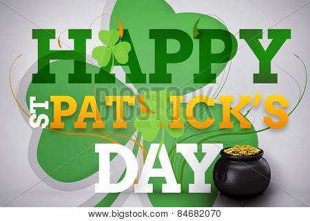 pot of gold against artistic st patricks day message with large shamrock