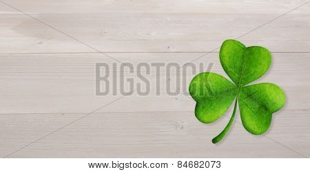 Shamrock against bleached wooden planks background