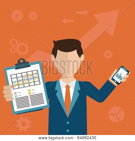 Businessman With A Task, Showing Task And Analytic, Flat Modern Design